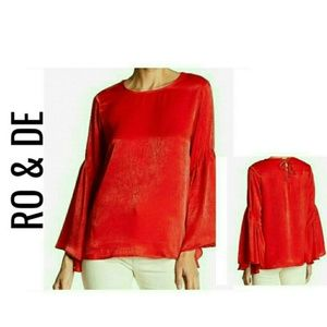 Red Lace Up Bell Sleeve Blouse NWT $88 M